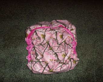 AIO Reusable  Adult Cloth Diaper   Zorb  Soaker ,  Pink Camoflauge  Minky Dot Lining,  Buy Four Get One Free  with Insert