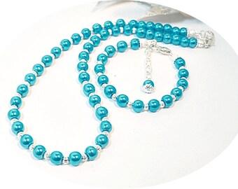 Aqua Jewelry, Necklace and Bracelet, Kids Jewelry Set, Flower Girl Jewelry, Little Girl Jewelry, Blue Jewelry, Pearl Jewelry, Girls Pearls
