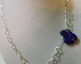 "17 1/2"" Blue Slab Necklace with Lobster Claw Clasp"