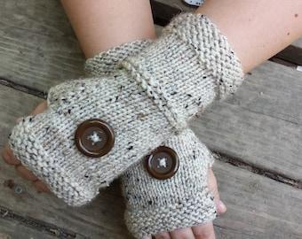 Knit Button Fingerless Gloves - Handmade Fingerless Gloves With Buttons - Wristwarmers - Arm Warmers - Women's Accessories - ON SALE