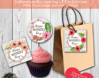 Instant Download Happy Mother's Day Tags or Cupcake Toppers