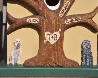 Miniature Pet Portrait Added to Your Birdhouse or Wedding Card Box Bird House