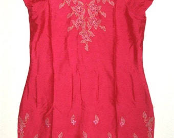 Womens Handmade Red Raspberry Cotton Tunic Dress with Embroidery Detail, Large
