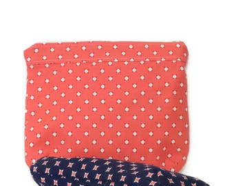 Cosmetic Bag / Makeup Bag / Toilerty bag / Travel Bag /  zipper pouch / Storage Bags / Pouch Set / Set of Two / Orange and Navy Blue