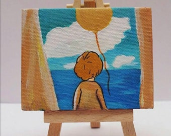 Mini Canvas painting with wood easel