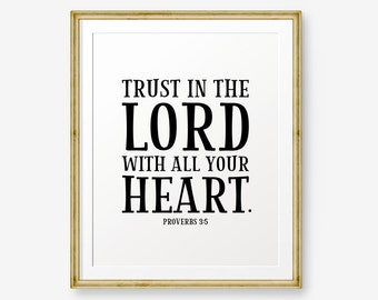 Trust in the Lord with all your heart, Proverbs 3:5, Bible verse printable, Christian Nursery Wall Art, Christian Gift, Nursery Art