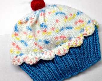 Cupcake Hat  preemie newborn baby toddler - Cherry on Top Blue Raspberry Cake with White Sprinkle Frosting