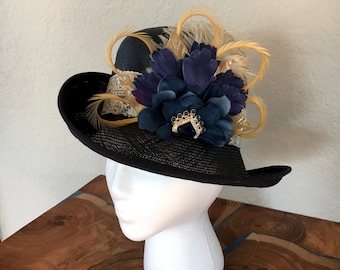 Vintage blue and tan hat