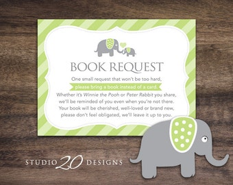 Instant Download Green Elephant Book Request, Green Grey Elephant Book in Lieu of Card, Gender Neutral Baby Shower Book Instead of Card 22D
