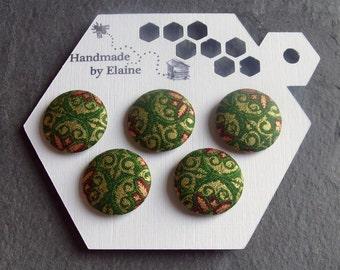 Fabric Covered Buttons - 5 x 22mm Buttons, Handmade Button, Festive Christmas Noel Holly Dark Green Red Gold Scroll Renaissance Buttons 2582