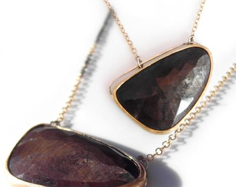 Brown Sapphire Necklace, Handmade Pendant Necklace from Recycled 14k Yellow Gold and Sterling Silver, chocolate sapphire gemstone necklace