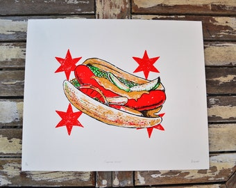 Chicago Hot Dog Screen Print