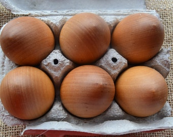 Natural Large Wooden Eggs (One Half Dozen finished with Beeswax Polish) - Waldorf Inspired Pieces for Creative Learning & Play