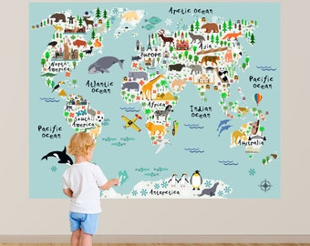 Map wall decal kids map wall decal animal map wall decal map of the world playroom decal world map wall decals kids gumiabroncs Images
