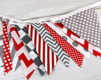 Banner Bunting Garland Baby Boy Nursery Decor Baby Shower Fabric Bunting Party Decorations Nursery Bunting Red Gray Chevron Gingham