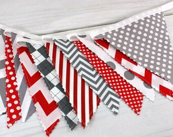 Banner Bunting Fabric Banner Baby Boy Nursery Decor Nursery Bunting Fabric Bunting Party Decorations Red Gray Chevron Gingham
