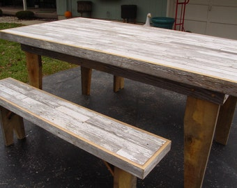 FREE SHIPPING harvest table, dining table, barn wood furniture , farm table, benches, reclaimed barn wood furniture, rustic table furniture