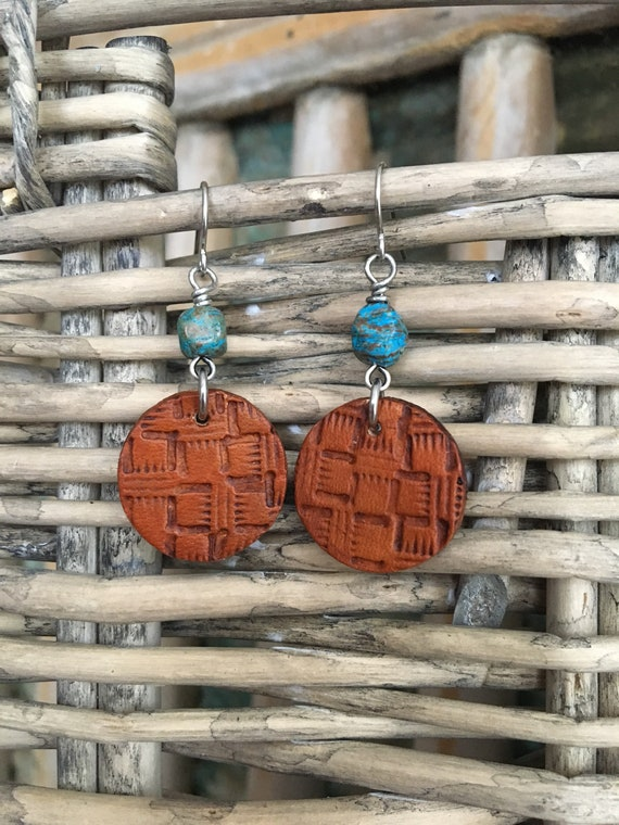 Leather Earrings - Western Style Textured Leather Disc with Blue Sky Japser - Small Lightweight Earrings