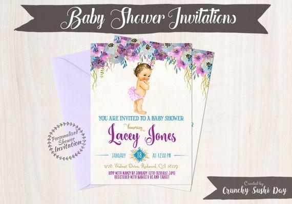 Vintage Baby Girl Baby Shower Invitations, Baby Shower Invitations, Printable Invitations, Baby Girl, Blonde, Teal, Purple, Floral 019