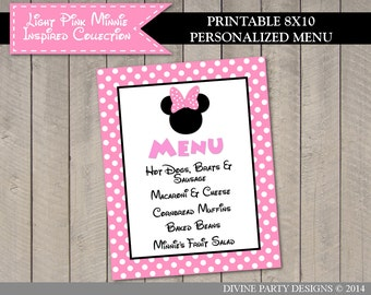 PERSONALIZED Light Pink Mouse Printable 8x10 or 11x14 Party Food Menu / Items of Your Choice /Light Pink Mouse Collection / Item #1842