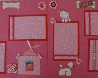 POODLE DOG - Premade Scrapbook Pages w/ Paper Piecings - SSFF