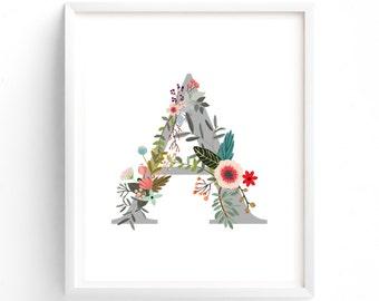 Letter A, Printable Letter, Nursery Decor, Nursery Wall Art, Nursery Prints, Nursery Art, Letters, Monogram Floral Letter