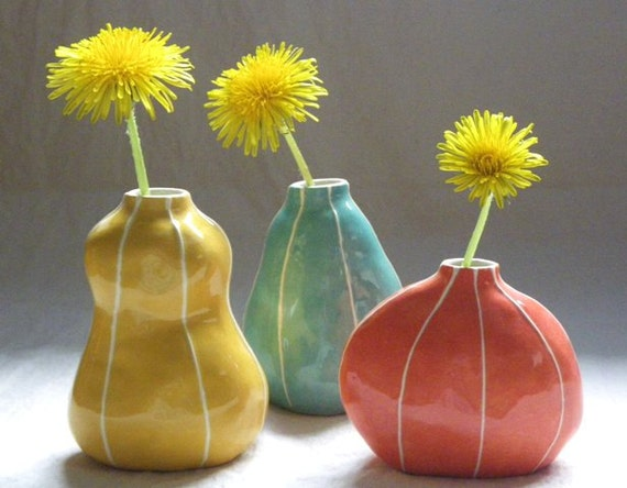Set Of 3 Ceramic Bud Vases Wedding Table Decorations Bright