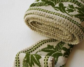 Vintage Trim Wide Green Leaf Design Chenille Detail