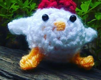 Fat Chicken - crochet chicken ornament amigurumi chicken toy stuffed hen mini chick crochet chick white chicken small crochet animals