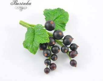 Black Currant Brooch, Currants jewelry, Blackberry  brooch, Blackcurrant pin, Berry jewelry, Currants broach, Currant berry, Fine jewelry