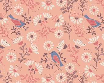 Little Birdie Told Me - Bird and Flower Pink from Lewis and Irene