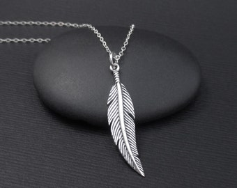 Feather Necklace Sterling Silver Bird Feather Charm Pendant , Boho Necklace, Feather Jewelry, Boho Jewelry