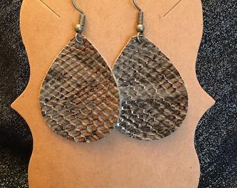 """Faux Leather Teardrop Earrings Size Small (1.5"""") Charcoal Gray Snakeskin"""
