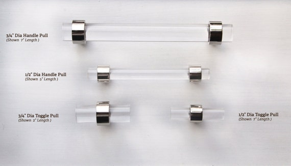 1/2 Dia. Polished Nickel Or Chrome Drawer Pull Lucite