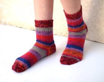 Red striped wool socks, hand knit socks for women, winter socks, thin socks, reinforced heel, striped socks
