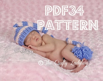 Long tail elf hat crochet pattern - 7 sizes - newborn to adults - PDF34 instant download