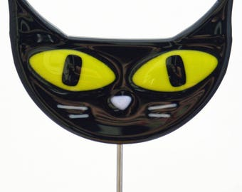 Glassworks Northwest - Black Cat Plant Stake - Fused Glass Garden Art