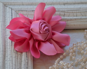 """Satin Fabric Roses, Rolled Rosettes, Pink Satin Rolled Rosettes, 3"""" Satin Roses, Rolled Roses, Rolled Satin Roses, A12"""