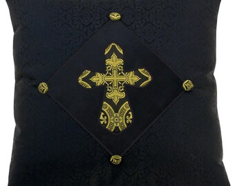 Brocade Cross Square Decorative Pillow 18 x 18 inches