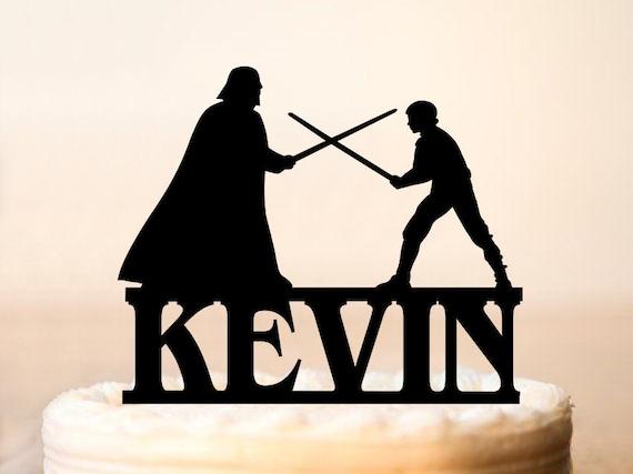 darth vader and luke skywalker fighting cake topperdarth and
