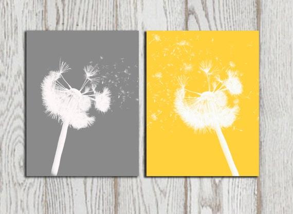 Dandelion print Yellow Gray home bedroom decor Dandelion