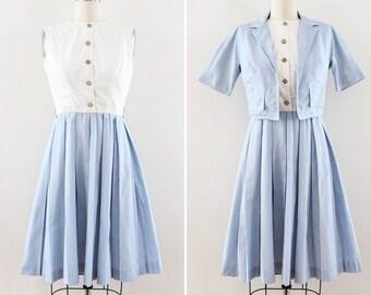 "1960s dress Small / Extra Small - Fit n Flare - Pin Striped - Dress Set circa 1962 ""California Girl, Inc"" 25 inch waist"