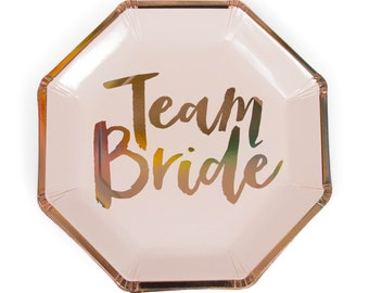 8pc Foiled Rose Gold  Team Bride Script Dinner Plate, Team Bride Decor, Wedding, Engagement Plates, Bridal Plate, Bachelorette Plate