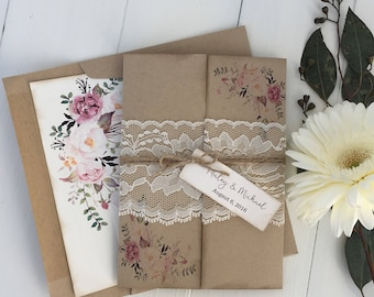 Rustic Wedding Invitation. Lace Wedding Invitation. Floral Wedding  Invitation. Bohemian Wedding Invite. Country Wedding, Kraft Invi