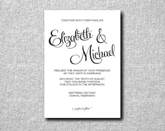 Printable Custom DIY Wedding Invitation - Slanted Script