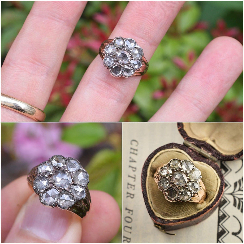 Antique Georgian Rose Cut Diamond Flower Cluster Ring in 15k
