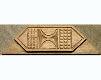 Oshiwa Carved Wood Printing Stamp, Tribal Design, 9.25''x 2.5'', Item 25-1-114