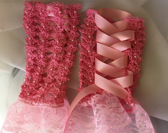 Pink & Lacy Fingerless Gloves-Wedding accessories-bridal shower-Womens gloves-Halloween costume-Christmas Party