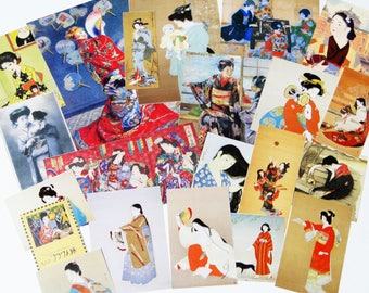over 20 pieces kimono girls  ephemera - Scrap pack,Collage Materials,Art Journaling,creative kit cards, life project,Glue book