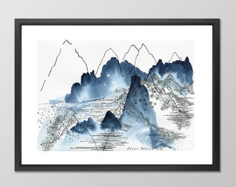 Landscape print. Abstract Mountain. Nature Watercolor Print. Mountain Art print. Mountain watercolor. Nature prints. Watercolor Mountains.